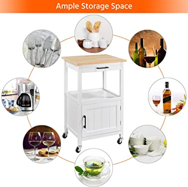 Topeakmart Rolling Kitchen Island Utility Cart on Wheels with Wood Top, Storage Drawer Shelf and Side Hooks, for Dining Rooms