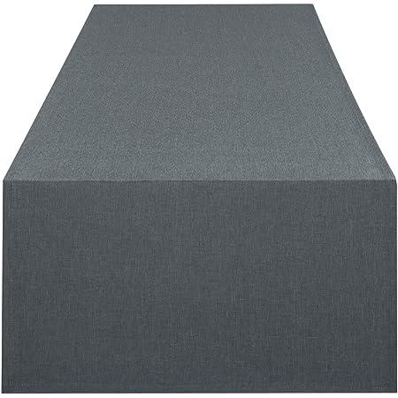 Chemin de table VIENNE anthracite gris, imperméable anti tache, pour toute l'année, 40x140 cm