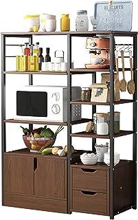 NgMik Cuisine Multicouche Baker's Rack étagère étagère à Micro-Ondes avec Rangement et tiroir Stockage Table de Travail de...
