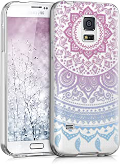 kwmobile TPU Silicone Case for Samsung Galaxy S5 Mini G800 - Crystal Clear Smartphone Back Case Protective Cover - Blue/Dark Pink/Transparent