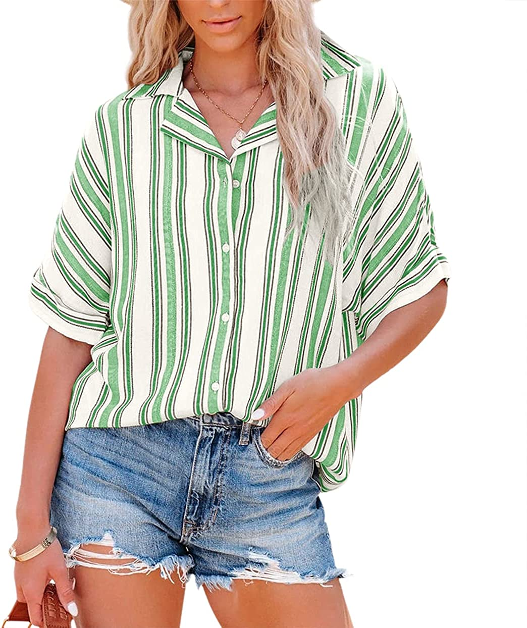 Women's Summer Tops Chiffon Blouses Vacation Striped Button Down Tshirts