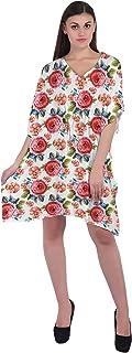 RADANYA Flower Short Casual Cotton Kaftan Evening Summer Beach Dress Caftan for Women