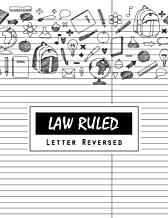 Law Ruled Letter Reversed: Writing Paper Notebook, Letter-sized lined paper is college ruled and oriented, Black lines is law ruled (in reverse), Taking notes in law school, Wide right column setup