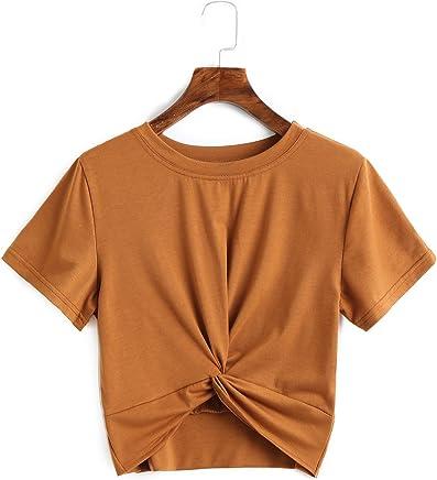 64397d5b878 Verochic Women s Summer Crop Top Solid Short Sleeve Tie Front T-Shirt Top