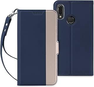 Huawei P20 Lite ケース QiCASE 手帳型 超耐磨高級PUレザー スタンド機能付き ストラップ付き 財布型 ケース (Huawei P20 Liteケース ブルー)