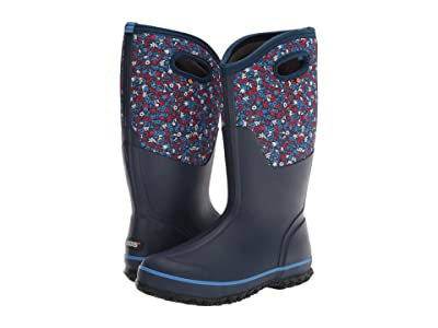 Bogs Classic Tall Freckle Flower (Blue Multi) Women