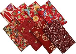 Sponsored Ad - ChuanShui 8pcs 100% Cotton Quilting Fabric Bundles Red Asian Pattern Fat Quarters Fabric bundle22 x 18 inch...