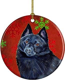Caroline's Treasures LH9339-CO1 Schipperke Red Snowflake Holiday Christmas Ceramic Ornament, Multicolor