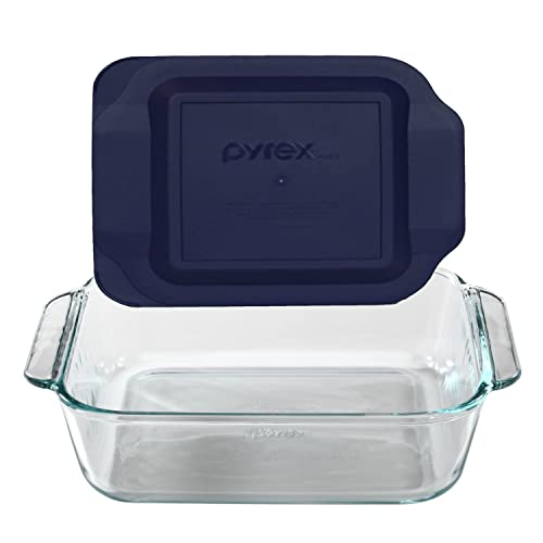 Pyrex 8  Square Baking Dish with Blue Plastic Lid