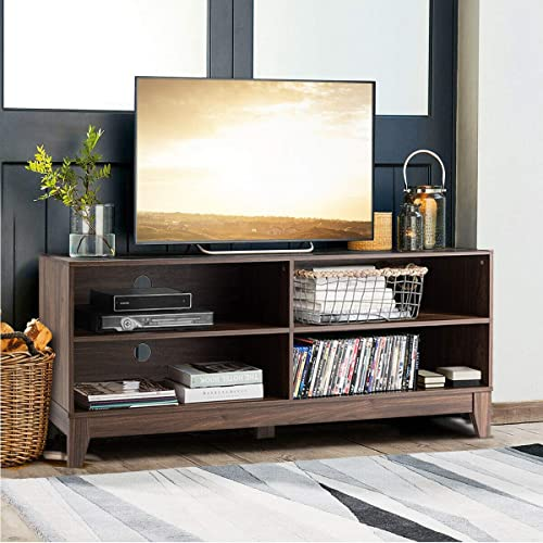 """discount Giantex TV Stand Console Table Cabinet for 60"""" TV, Large Storage for Living Recreation Room W/ 4 Open Shelves,Feet and Cable Management discount System, Rustic Wood outlet sale Style Television Stands Tables (Walnut) sale"""