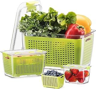 Luxear Lot De 3 Boîte De Conservation Alimentaire, Boîte Fraicheur 4,5 L+1,7 L+0,5 L sans BPA pour Rangement Frigo avec Ég...