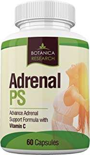 Adrenal Fatigue Support Supplement with Premium Rhodiola Rosea Herb Extract, L-Tyrosine, Panax Ginseng, Holy Basil - PS Cortisol Gland Complex For Health Insufficiency Calm Energy Response