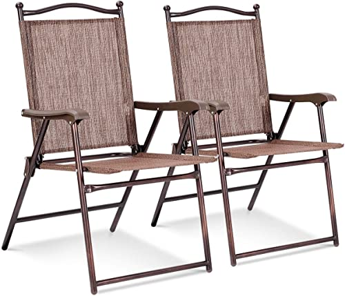 2021 Giantex Set of 2 Patio Folding Chairs, new arrival Sling Chairs, Indoor Outdoor Lawn Chairs, Camping Garden Pool sale Beach Yard Lounge Chairs w/Armrest, Patio Dining Chairs, Metal Frame No Assembly, Brown outlet sale