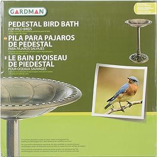 """Gardman BA01281 Pedestal Bird Bath, Antique Copper Effect, 20"""" Wide x 28"""" High"""