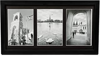 Golden State Art 8.5x16.3 Black Wood Frame - Black Mat for Three 5x7 Pictures - Sawtooth Hangers- Swivel Tabs - Wall Mounting - Landscape/Portrait - Real Glass - Collage Frame