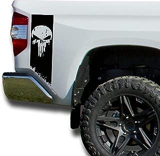 Matte Black Bedside Punisher Solid Stripe Distressed Tattered Decals Vinyl Sticker Decal: fits 2014-2018 Toyota Tundra