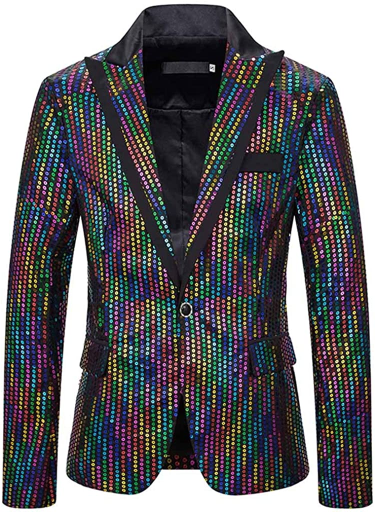 Forthery-Men Virginia Beach Max 66% OFF Mall One Button Sequin Dress Jacket Suit Party Festival