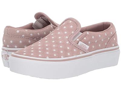 Vans Kids Classic Slip-On Platform (Little Kid/Big Kid) ((Suede Polka Dot) Shadow Grey/True White) Girls Shoes