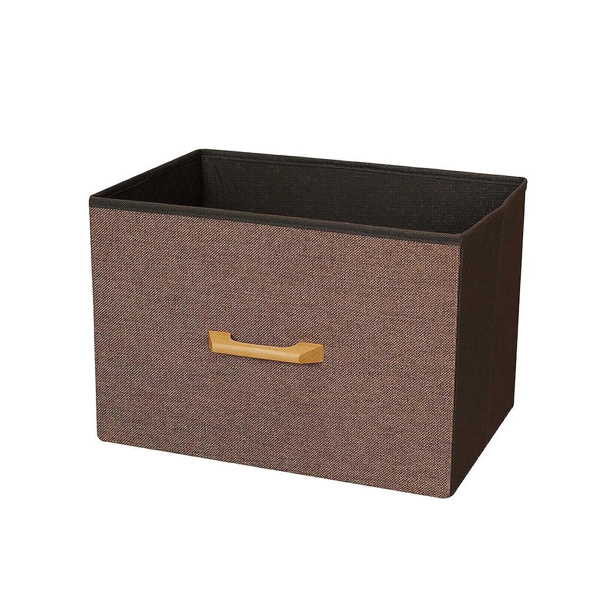 シリアル外観仲介者カラーボックス 収納ボックス 縦置き 横型 木製ハンドル ブラウン 幅38×奥行26×高さ26cm NWH3826-BR
