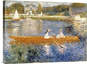Global Gallery Budget Pierre Auguste Renoir The Seine at Asnieres Gallery Wrap Giclee on Canvas Wall Art Print