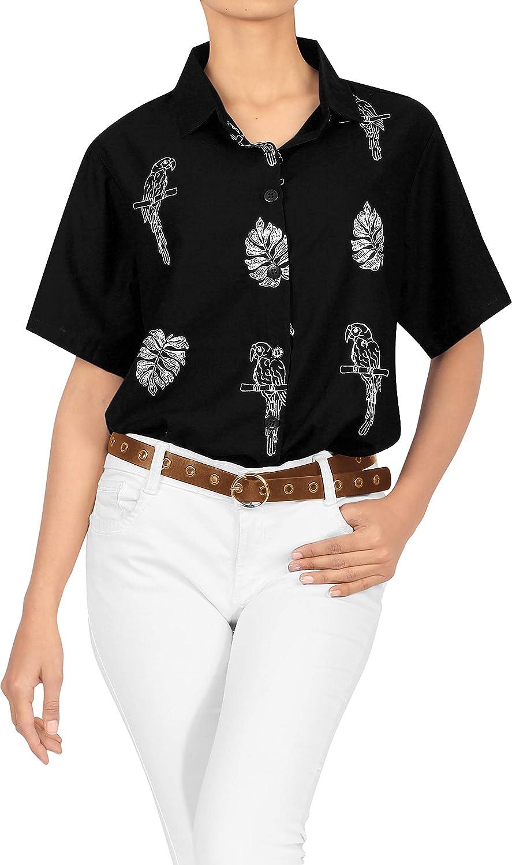 LA LEELA Women's Plus Size Casual Short Sleeve Aloha Hawaiian Shirt Embroidered