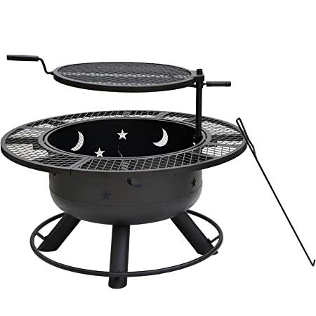 "Bond Manufacturing 52124 Nightstar 32.7"" Round Wood Burning Steel Fire Pit with Grill, Black"
