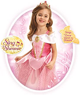"Disney Princess Aurora Dress Costume, Sing & Shimmer Musical Sparkling Dress, Sing-A-Long to ""Once Upon A Dream"" Perfect for Party, Halloween Or Pretend Play Dress Up [Amazon Exclusive]"