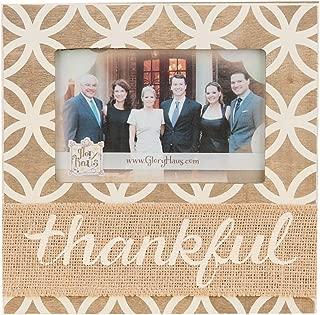 Glory Haus Thankful with Burlap Frame, 8.5 x 8.5