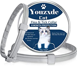 Youzxde 2 Pack Flea and Tick Collar for Cats with Flea Comb,8-Month Tick and Flea Control for Cats,Adjustable Design-One S...