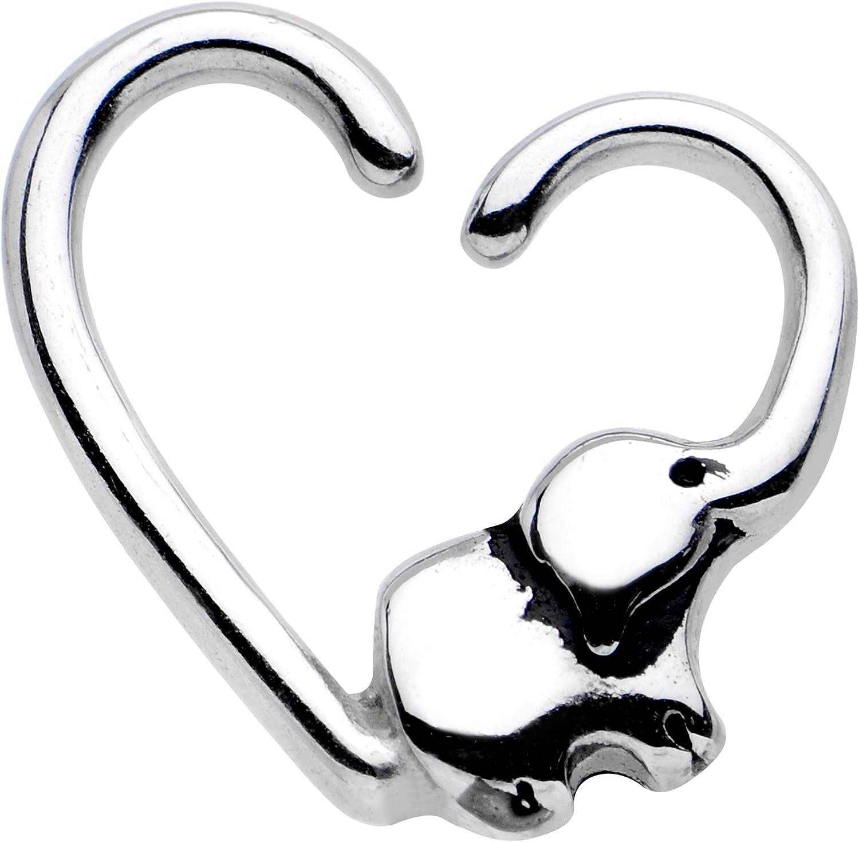 Body Candy Steel Elephant Trunk Heart Left Daith Cartilage Tragus Earring 16 Gauge 3/8