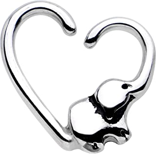 Steel Elephant Trunk Heart Left Daith Cartilage Tragus Earring 16 Gauge 3/8