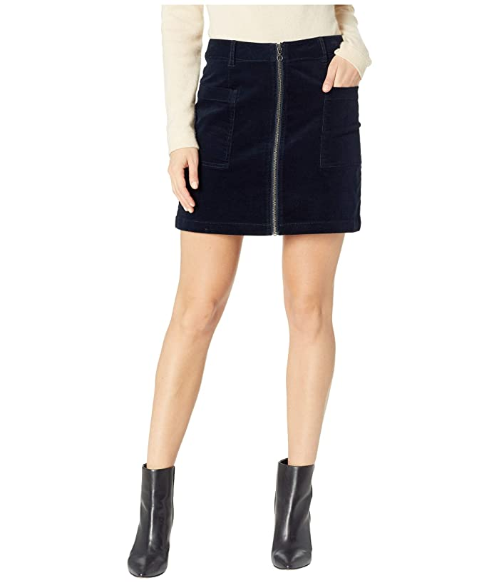 1.STATE Patch Pocket Corduroy Mini Skirt w/ Zipper (Classic Navy) Women