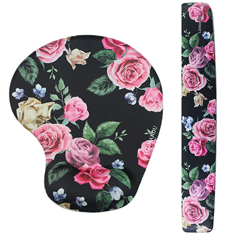 Lizimandu Memory Foam Non Slip Mouse Pad Wrist Rest For Office, Computer, Laptop & Mac - Durable & Comfortable & Lightweight For Easy Typing & Pain Relief-Ergonomic Support (Black Rose)