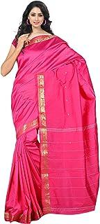 فستان ساري من الحرير الصناعي بتصميم باناراسي تقليدي هندي للنساء من كيه او سي، فستان من القماش