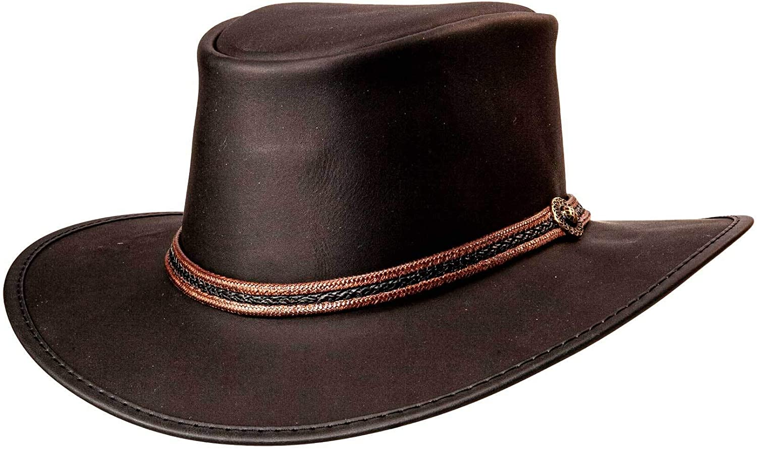 American Hat Makers Midnight Rider Bravo Outback Leather Hat for Men and Women — Handcrafted