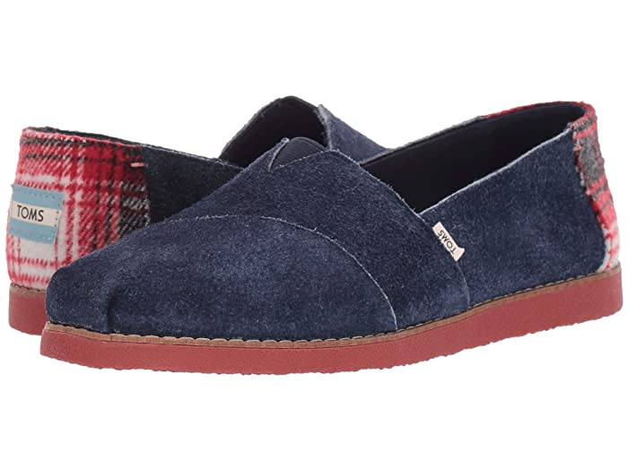 TOMS  Alpargata Faux Crepe ( Navy Tip Shaggy Suede) Womens Shoes