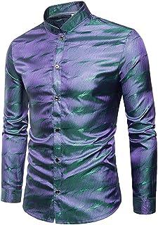 cDUILASufvop Mens Silk Satin Dress Shirt Swallow Collar Long Sleeve Shirt Men Nightclub Party Wedding Shirt