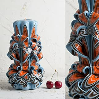 Blue E Arancio - Colori Brillanti - Candela Intagliata Decorativa - EveCandles