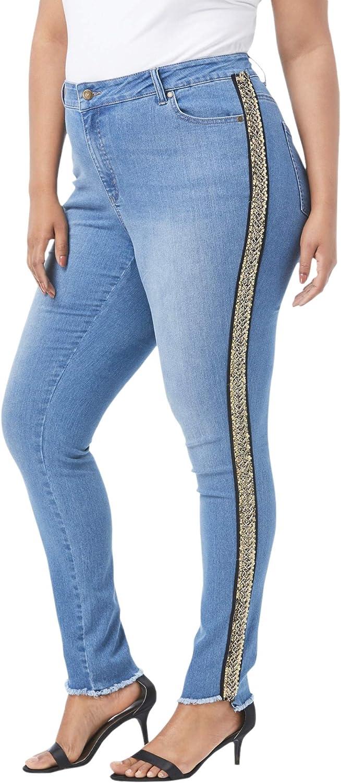 Roamans Women's Plus Size Side-Stripe 卸直営 Skinny 直営限定アウトレット 7 Denim Jean by 24