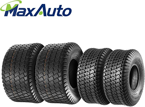 Set Of 4 Lawn Mower Turf Tires 15x6 6 Front 18x9 5 8 Rear Tractor Riding 4PR Tubeless