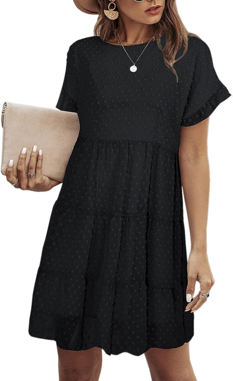 Angashion Women's Summer 通信販売 Tunic Dress Round Sleeve Neck オンライン限定商品 Short Ruf