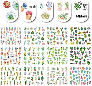 Summer Cactus Nail Art Stickers Nail Water Decals 12 Sheets Desert Plant Nail Art Accessories Stickers for Women Girls Natural & Fake Fingernails Decorations Cute Nail Charms Supplies Manicure Wraps