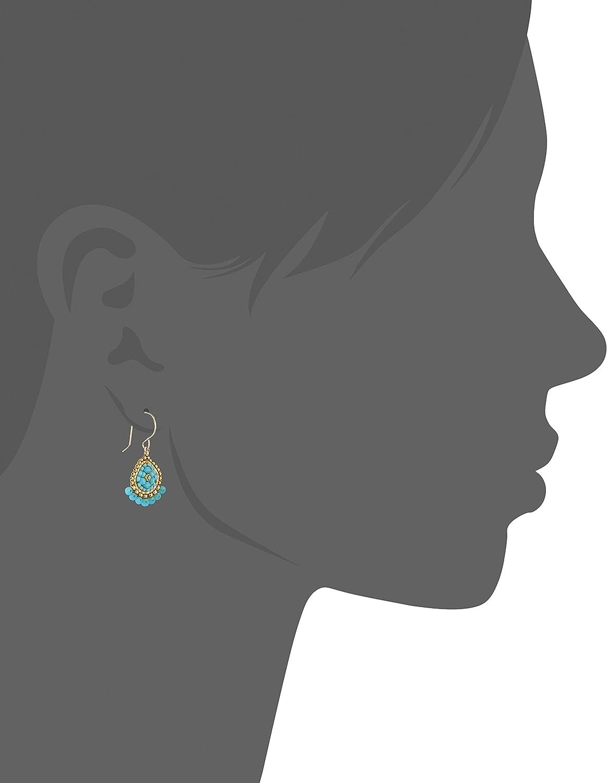 Miguel Ases Mini Teardrop Fringed Rondelle Turquoise Drop Earrings