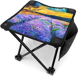 アウトドア 椅子 キャンバス上のラベンダー畑のオリジナルの油絵。現代印象派 アウトドア 椅子 ピクニック 釣り コンパクト イス 持ち運び キャンプ用軽量 収納バッグ付き 折りたたみチェア レジャー 背もたれなし