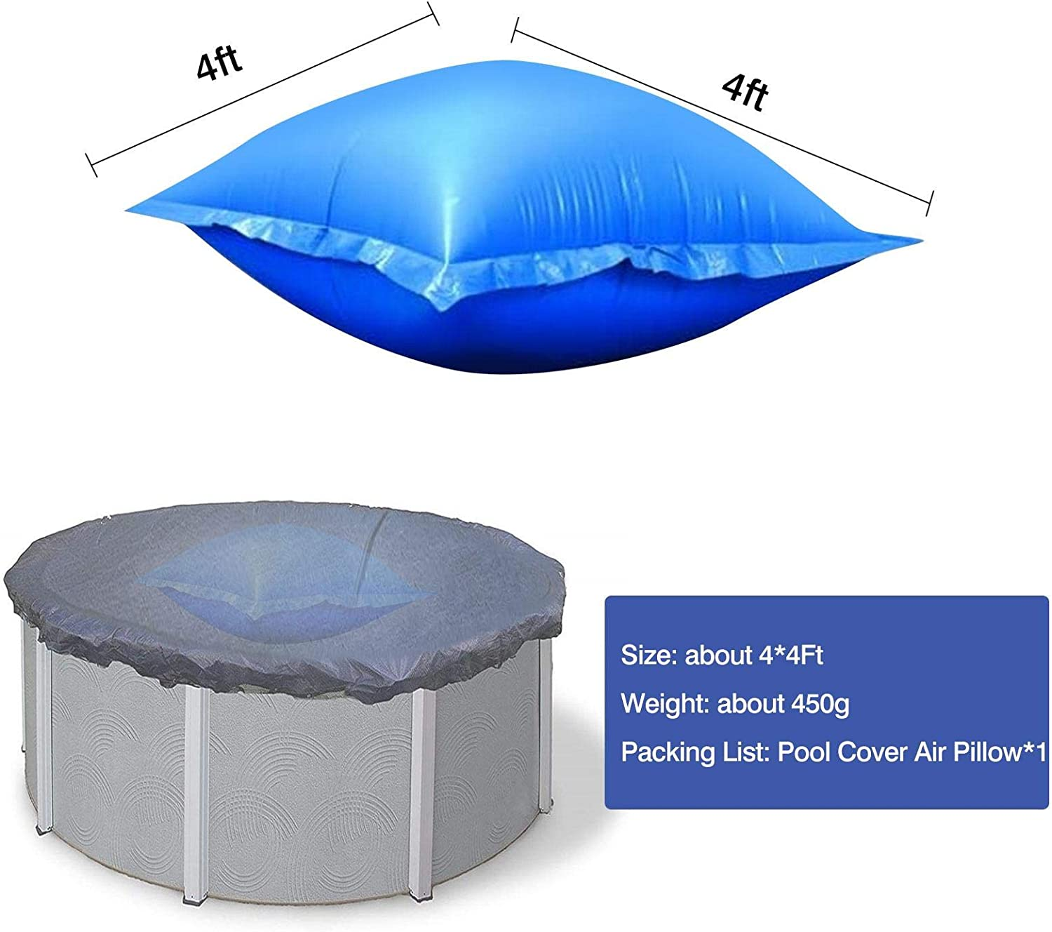 1 Pack Juhuitong Air Pillows 4x4ft Pool Pillows for Above Ground Pools Portable Inflatable Multifunction Durable Floating PVC Winter Spa Square Prevent Fading Hot Swimming Pools Blue