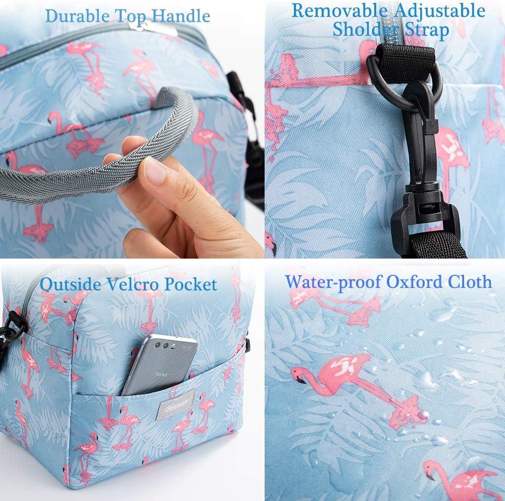 Azul Oscuro Bolsa T/érmica Comida Bolsas de Almuerzo Caja Porta con Aislamiento Bolso de Mano para Mujeres Impermeable Fiambrera Isotermica Aislado T/érmico para Hombres ni/ñas ni/ños