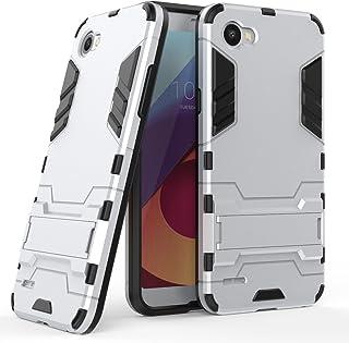MaiJin Funda para LG Q6 (5,5 Pulgadas) 2 en 1 Híbrida Rugged Armor Case Choque Absorción Protección Dual Layer Bumper Carcasa con Pata de Cabra (Plateado)