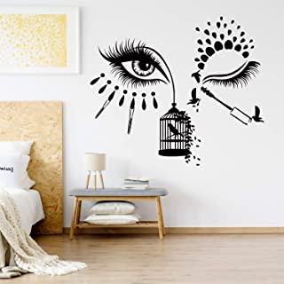 VODOE Beauty Salon Wall Decals, Eyes Wall Decal, Face Makeup Beautiful Women Sexy Female Eyelashes Eyebrow Stickers Suitable for Family Living Vinyl Art Home Decor(Black 21.2 X 24.8 inches)