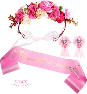 5 Pieces Baby Shower Sash Set Includes Growing a Princess Sash Mommy Daddy Tinplate Badge Pin, Flower Crown and Brooch Clip Pin for Baby Shower Party Favors Decorations