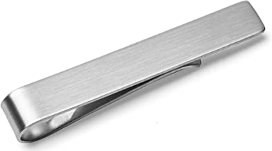 Tie Bar Clip, 5.4cm Brushed Silver Finish + Deluxe Gift Box